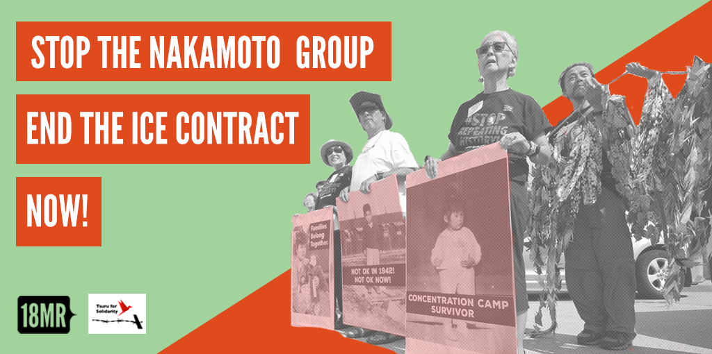 "Petition to stop the nakamoto group banner -- camp survivors hold posters in the background. ""Stop the nakamoto group, end the ice contract now"" text in foreground"
