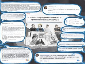 Snapshot of Time article photo of tsuru protestors of fort sill, surrounded by facebook and online news comments responding to the California apology