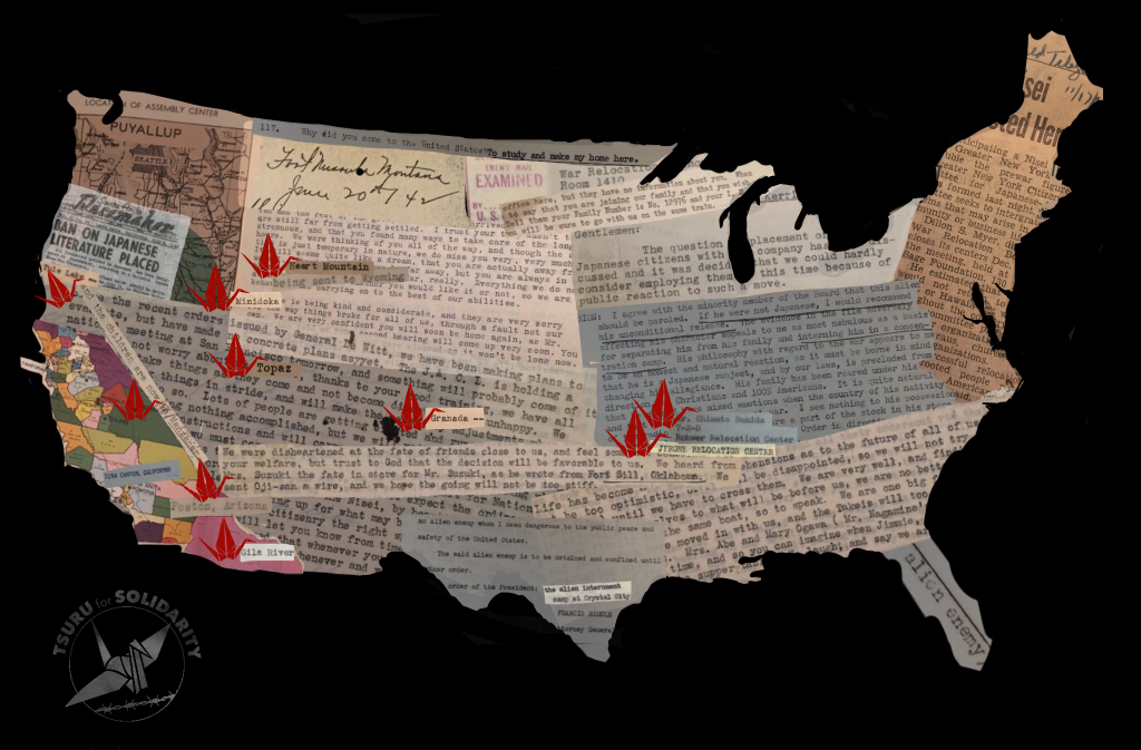 Collage Map of the U.S. with fragments of letters writen between Japanese American incarcerees, newspapers reporting on Japanese American Incarceration, with tsuru marking the 10 main WRA camps geographically