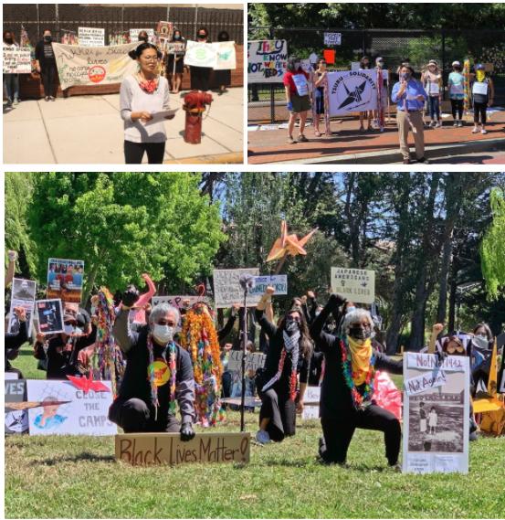 Photos of Tsuru Rising! Direct Actions from Cook County Jail, Chicago; The White House, Washington DC; Tanforan Assembly Center, California. Photos: Ty Yamamoto, Noriko Sanefuji, Leo Leung, Pro Bono Photo